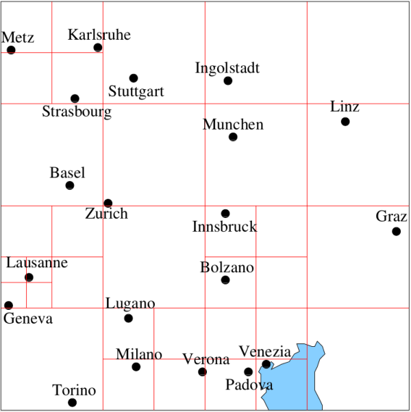 Figure 8. Map of a few European cities subdivided following a quadtree decomposition rule with a bucket capacity of 1. Note that object in close proximity (e.g. Geneva and Lausanne) may result in a finer decomposition of the underlying space and hence a deeper tree structure.  See <sup>16</sup>