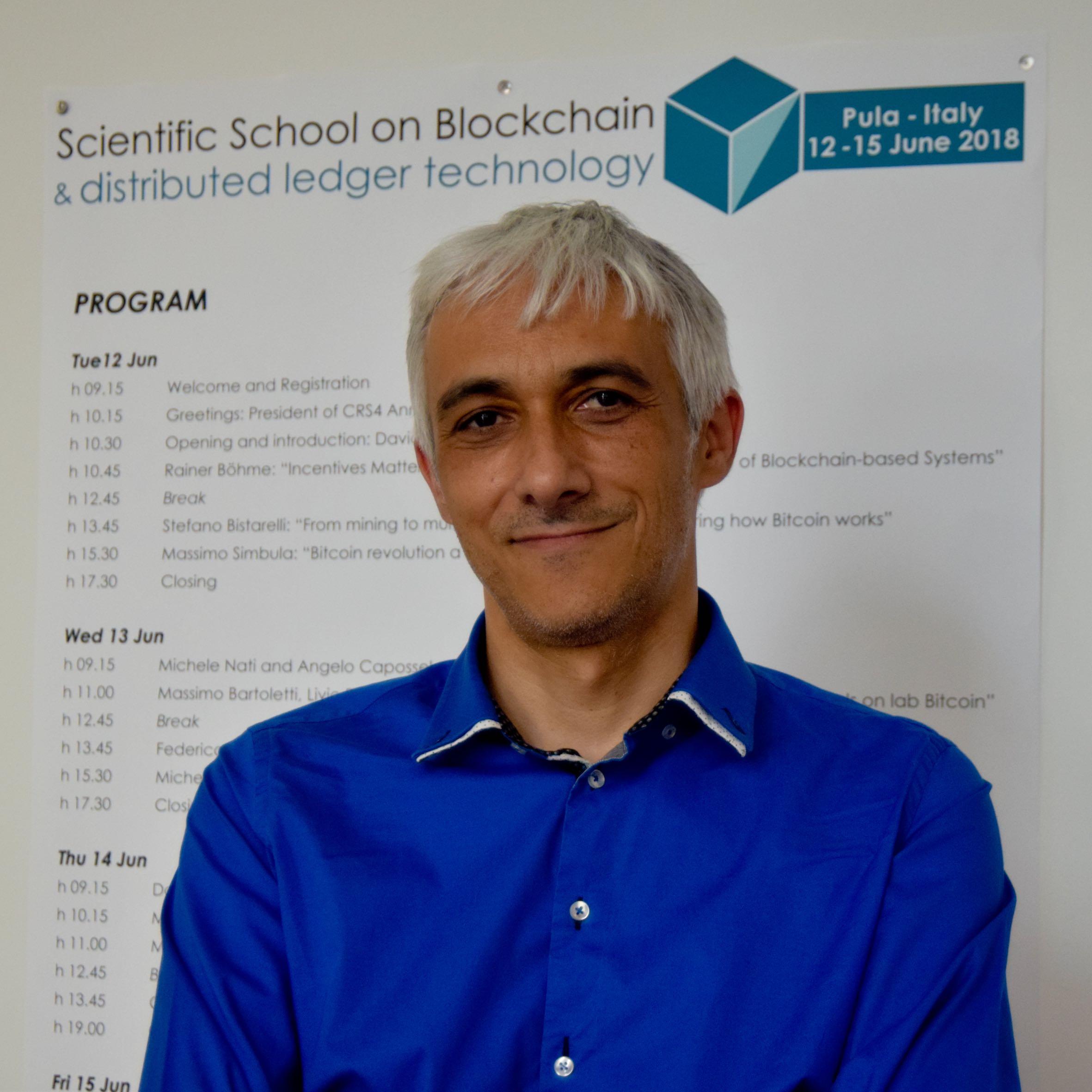 Davide Carboni organizzatore della scientific school on blockchain technologies
